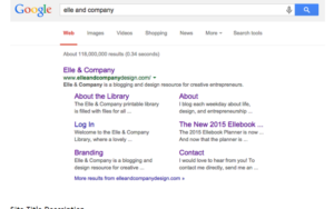 Elle and Company's website search engine description