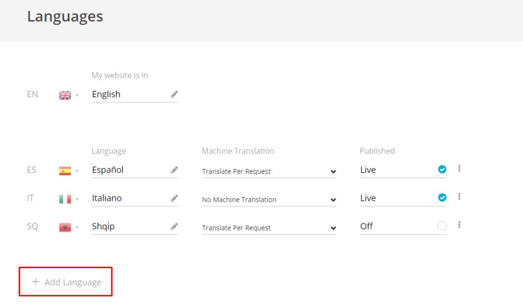 Add Language - Bablic Dashboard