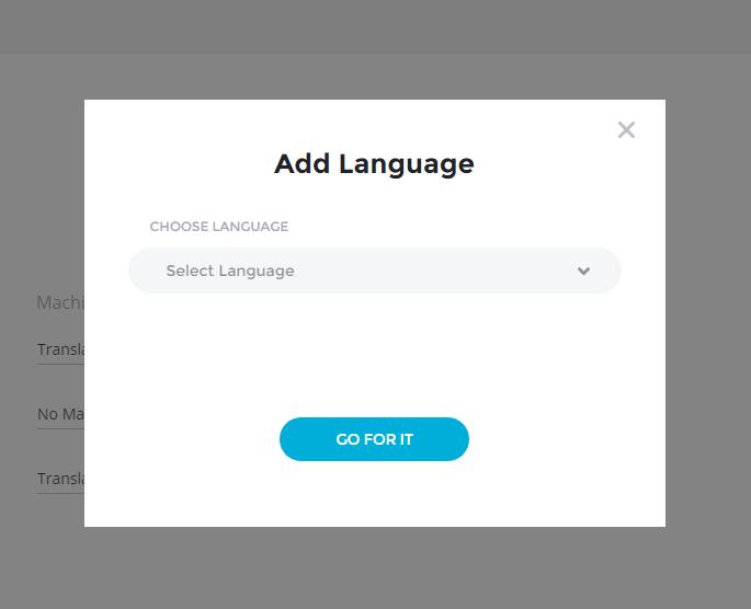 Add Language Popup - Bablic Dashboard