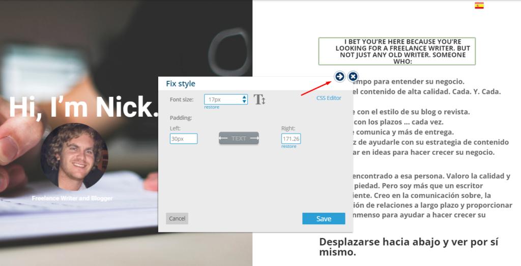 Clicking Move-To-Sidebar Button - Bablic Visual Editor