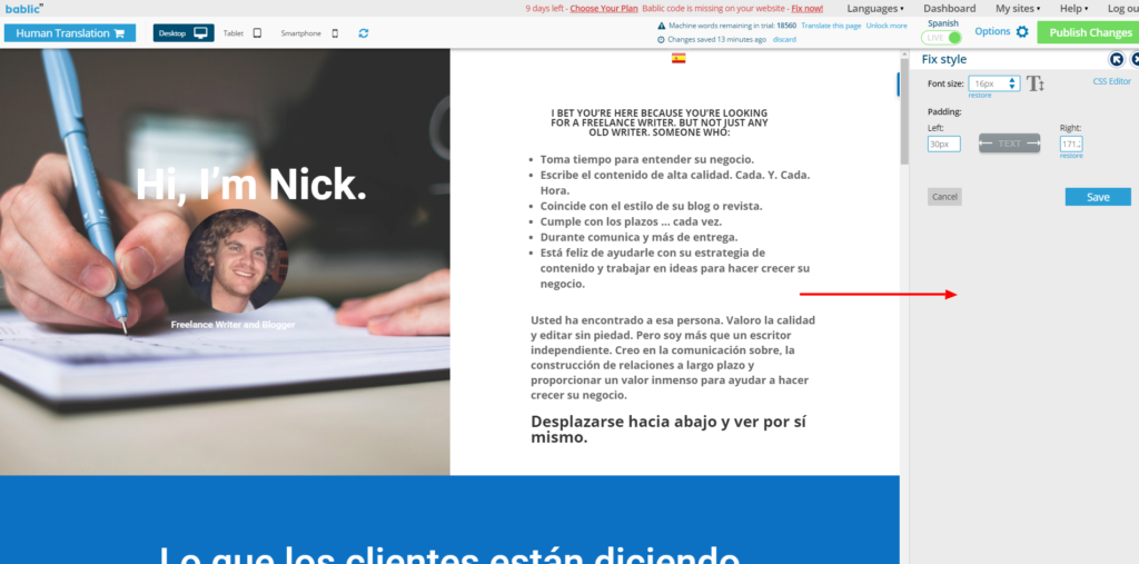 Fix Style Box - Right Sidebar - Bablic Visual Editor