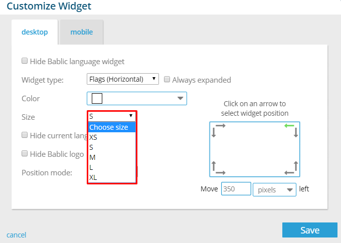 Language Widget Size - Bablic Visual Editor
