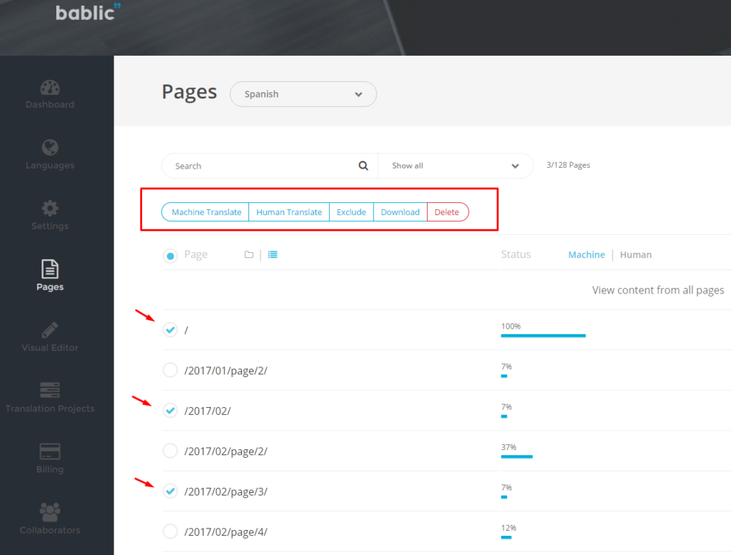 Pages - Include or Exculde - Bablic Dashboard