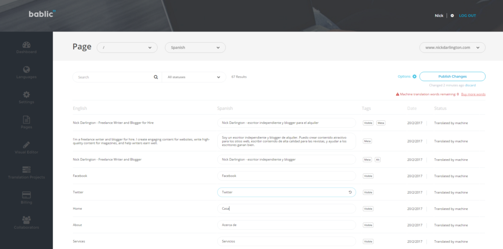 Pages and Text Editor - Bablic Dashboard