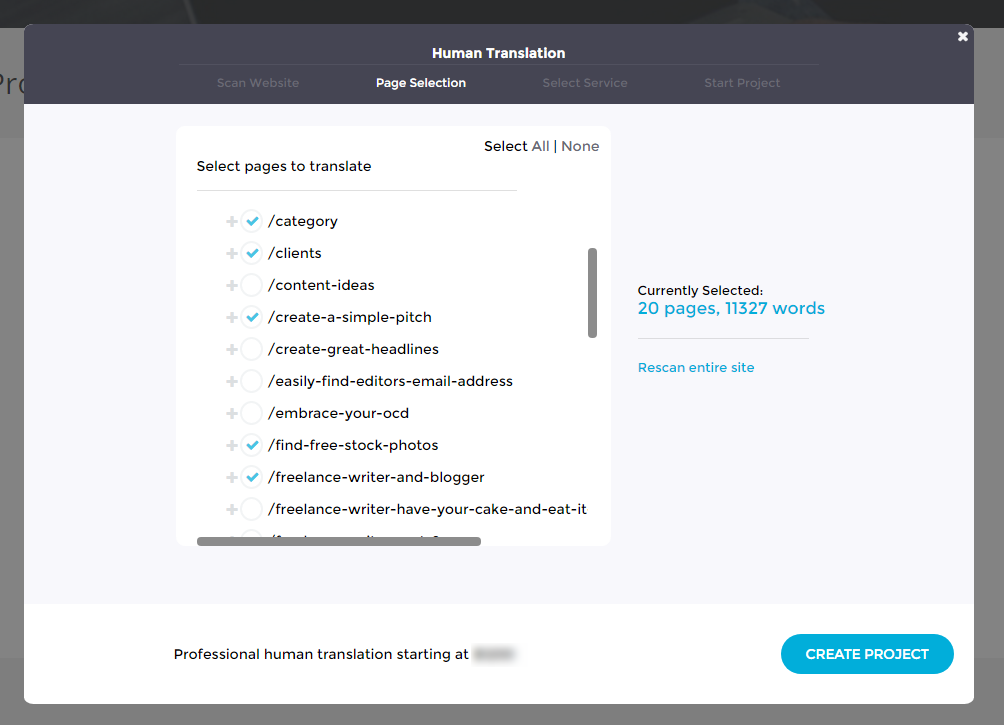 Translation Projects - Professional Human Translation - Select Pages - Bablic Dashboard