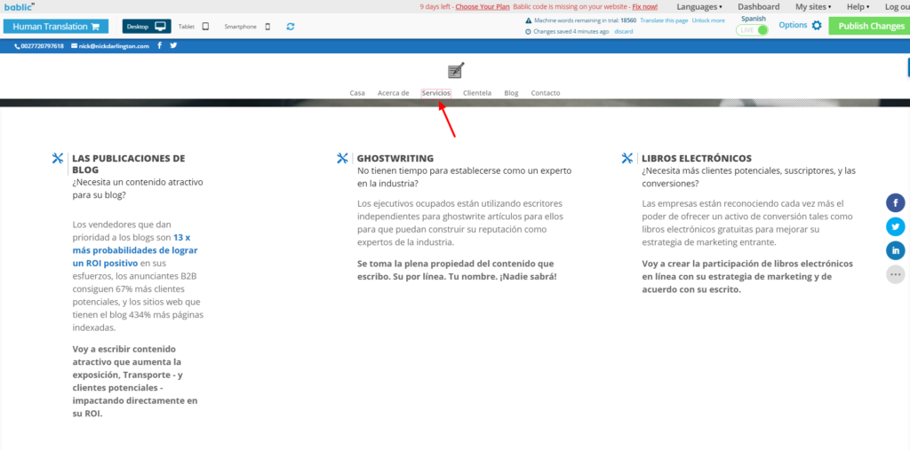Website Menu Navigation - Bablic Visual Editor
