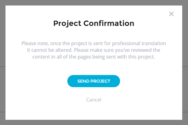 Translation Projects - Professional Human Translation - Send Project Popup - Bablic Dashboard